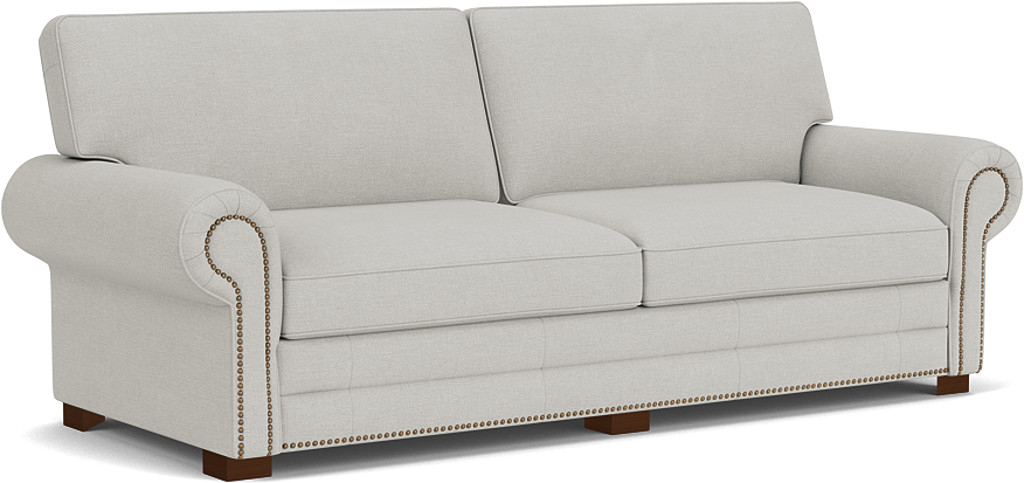 the canterbury 3.5 seater sofa in easy clean soft as cotton cambridge blue with dark oak feet