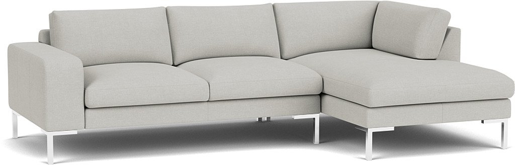 the kingly 3 seater chaise sofa in easy clean soft as cotton cambridge blue with chrome feet