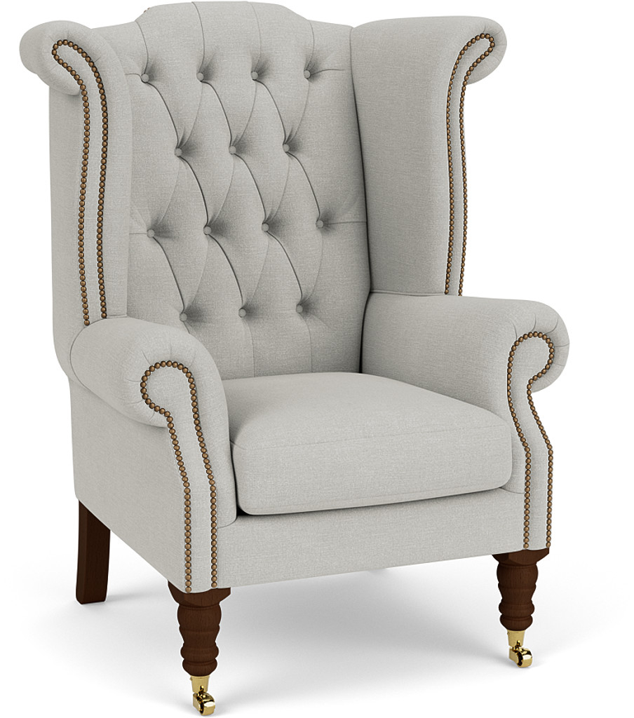 Product photograph showing Queen Anne Scroll Wing Chair With Castors