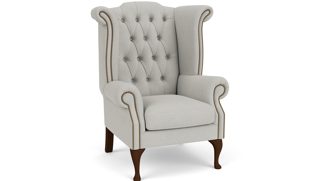 the queen anne chair with turned feet in easy clean soft as cotton cambrdige blue with dark oak feet