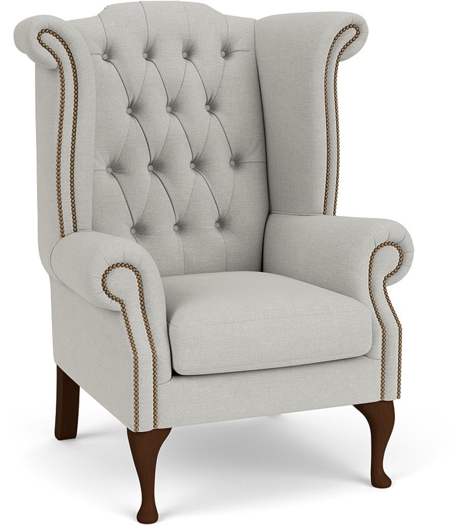 the queen anne chair in easy clean soft as cotton cambridge blue with dark oak feet