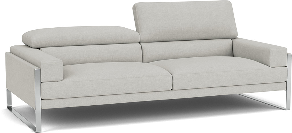 the rocco 3 seater sofa in easy clean soft as cotton cambridge blue with dark oak feet