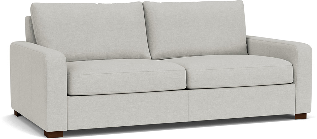 the Sandhurst 3.5 seater sofa in easy clean soft as cotton Cambridge blue with dark oak feet