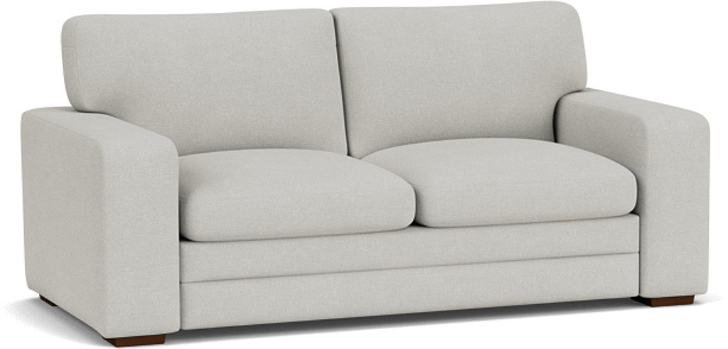 the sloane 3 seater sofa in easy clean soft as cotton cambridge blue with dark oak feet