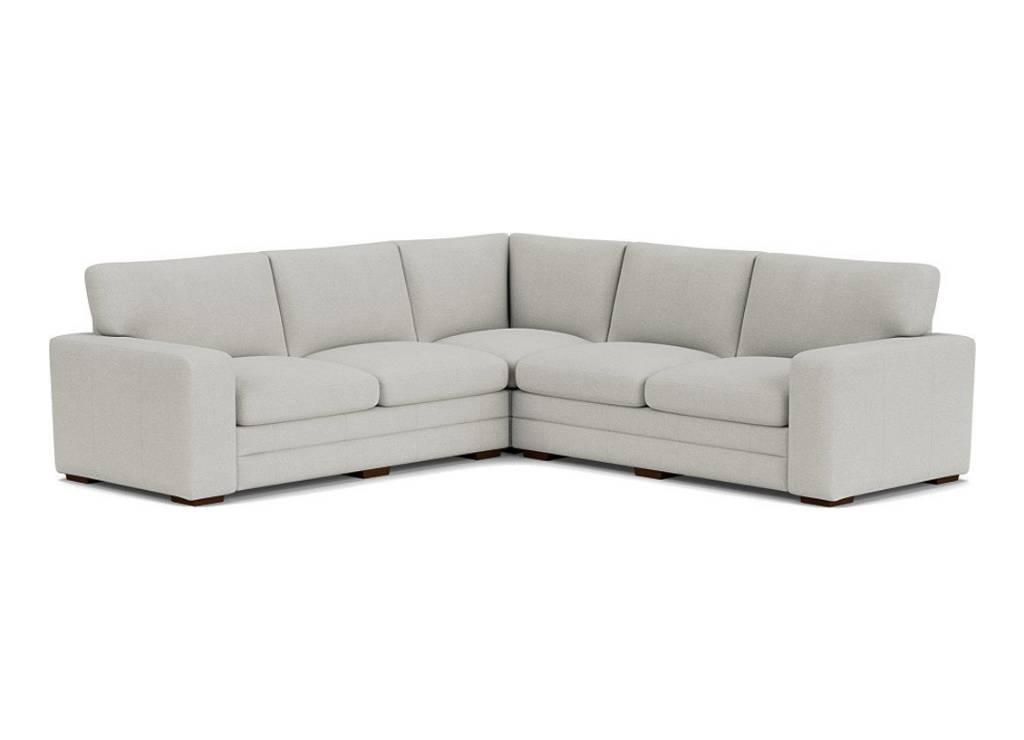 the sloane 3x3 corner sofa in easy clean soft as cotton cambridge blue with dark oak feet
