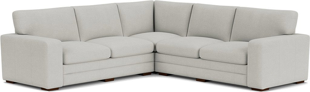 the sloane 3x3 corner sofa in easy clean soft as cotton cambridge blue with dark oak feet