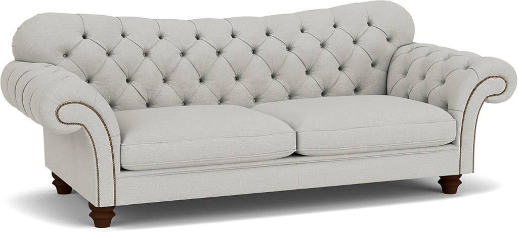 the woodford 3.5 seater sofa in easy clean soft as cotton Cambridge blue with wenge feet