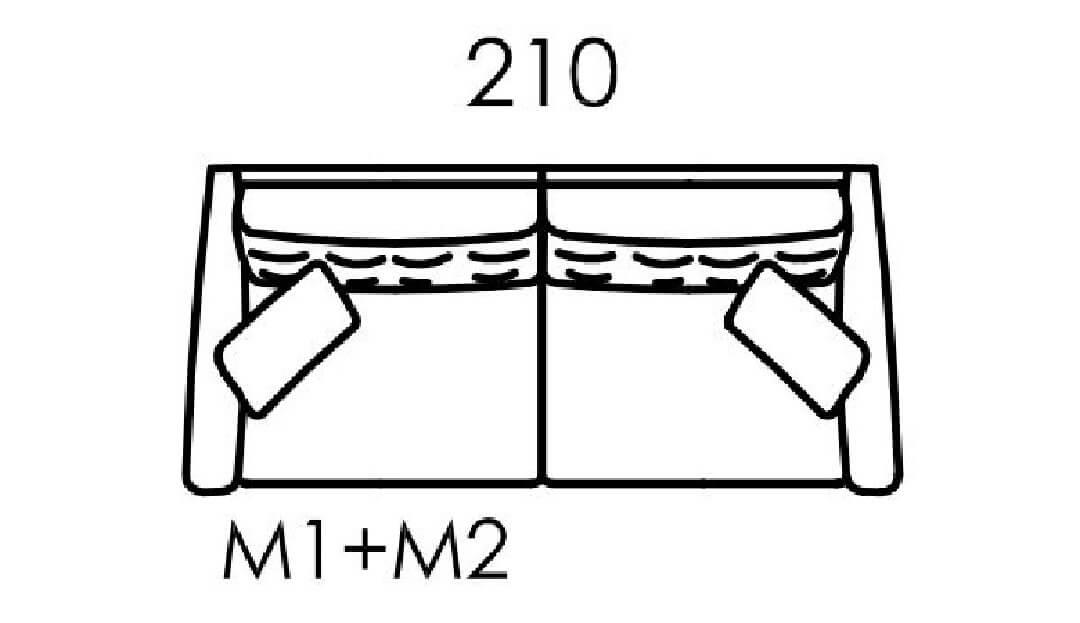 Product photograph showing Hugo Large Sofa M1 M2