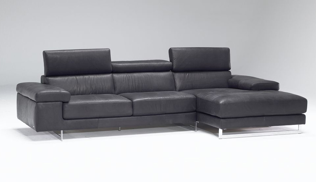 Product photograph showing Milano Leather Chaise Sofa With Right Hand Chaise End 18 49