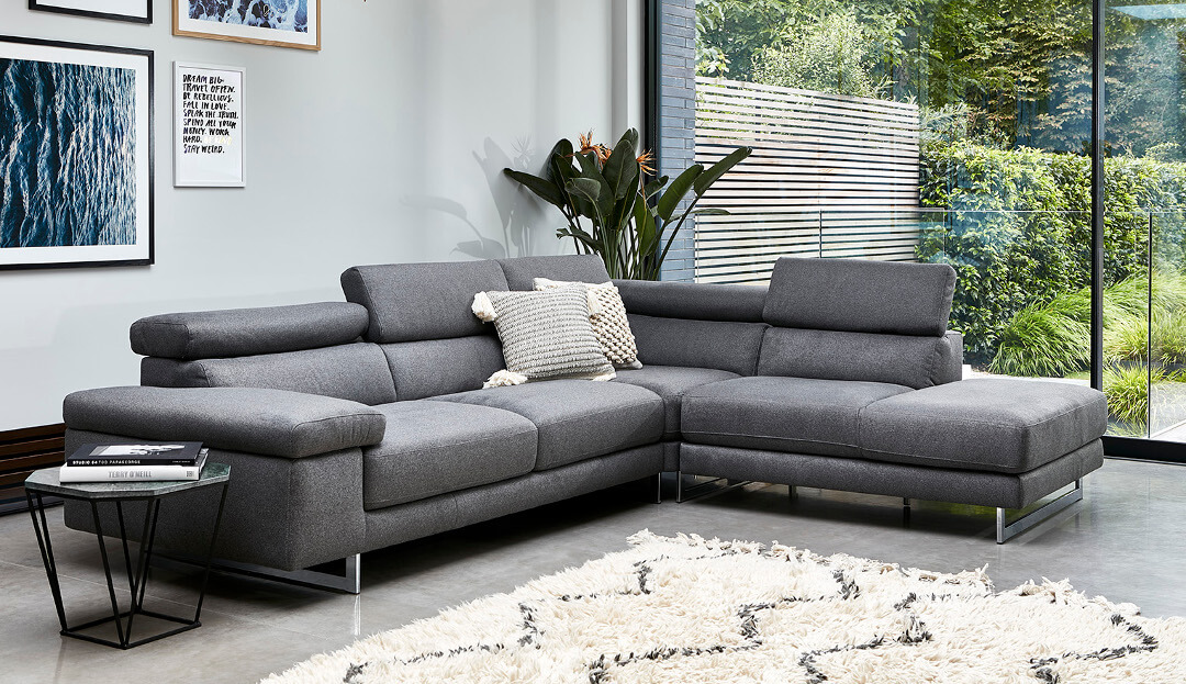Milano Corner Chaise sofa with Adjustable Headrest on Corner - Right  (3 units) in Levante 02