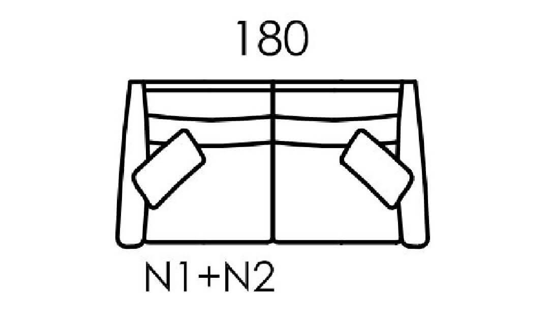 Product photograph showing Hugo Medium Sofa N1 N2