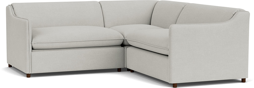 the norbury 2x2 seater corner in easy clean soft as cotton cambridge blue with dark oak feet