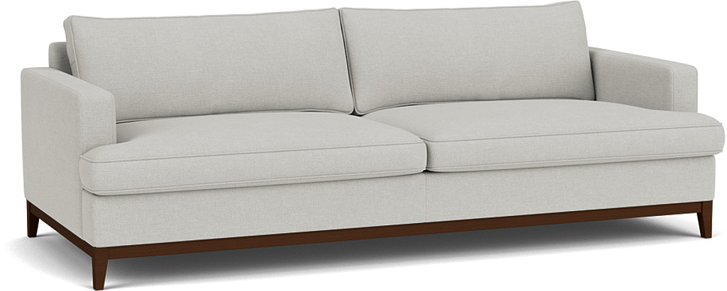 the oakham grand sofa in easy clean soft as cotton cambridge blue with dark oak feet