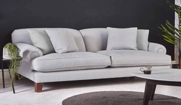 the thatcham grand sofa in easy clean soft as cotton cambridge blue with medium oak feet
