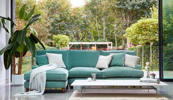 the whinfell chaise sofa in stain resistant cotton velvet surf