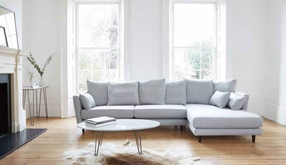 the amy chaise sofa in easy clean soft as cotton mist with wenge feet