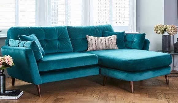 the studio lounger sofa in stain resistant moleskin velvet marine with dark oak feet