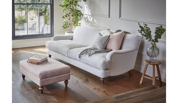 the evelyn grand sofa in linen cotton oyster with medium oak feet