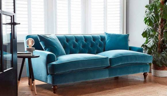 the charnwood large sofa in stain resistant cotton velvet turquoise with dark oak feet Large Sofa in Varese Turquoise