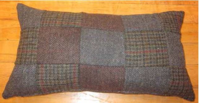 Product photograph showing Harris Tweed Large Patchwork Lumbar Cushion