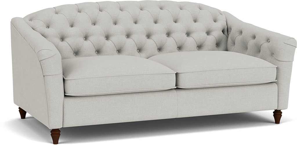 the payton 3.5 seater sofa in easy clean soft as cotton cambridge blue with dark oak feet