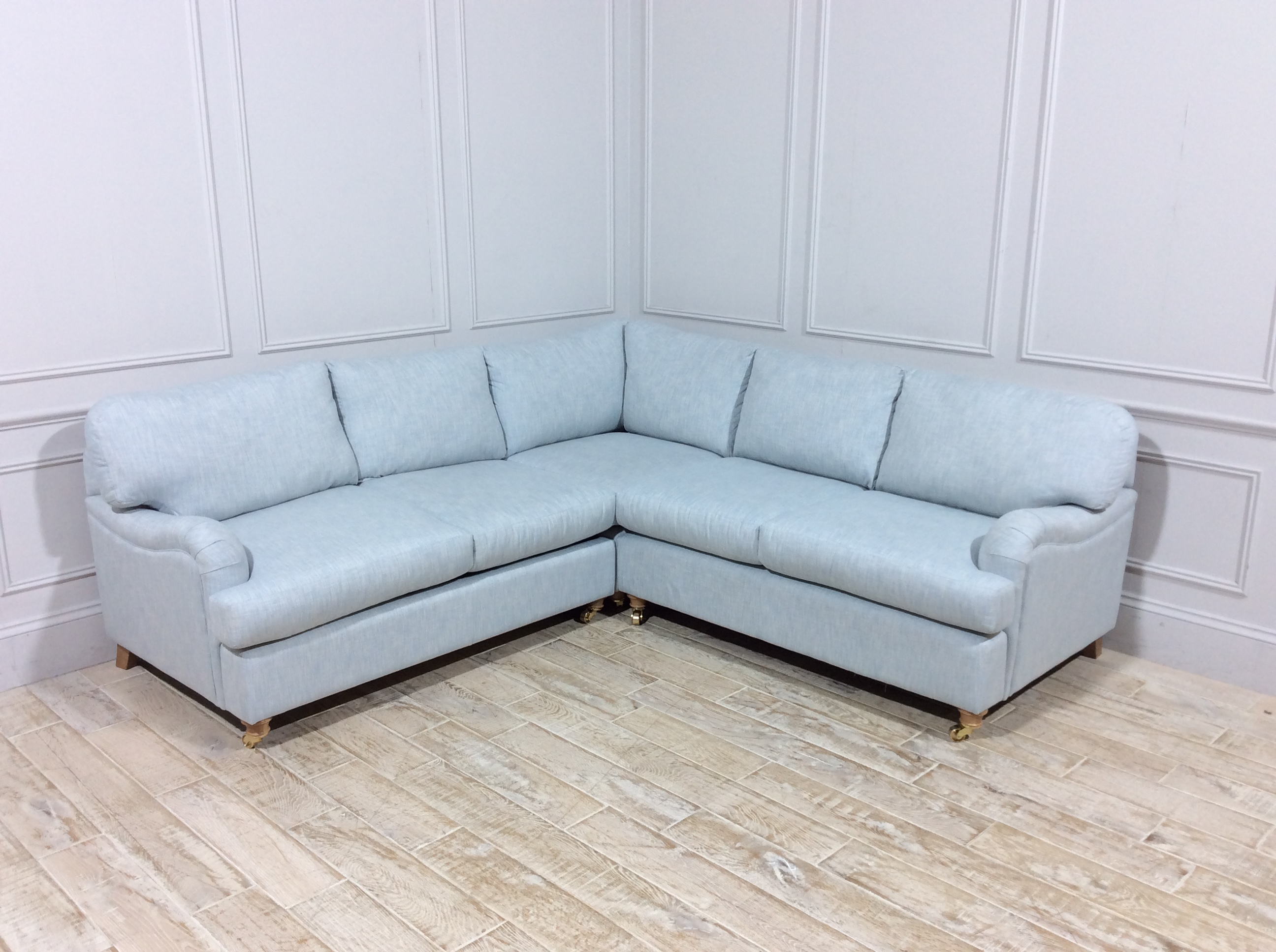 Helston 2 x 2 Seater Corner Sofa Bed in Washed Linen Ice Blue