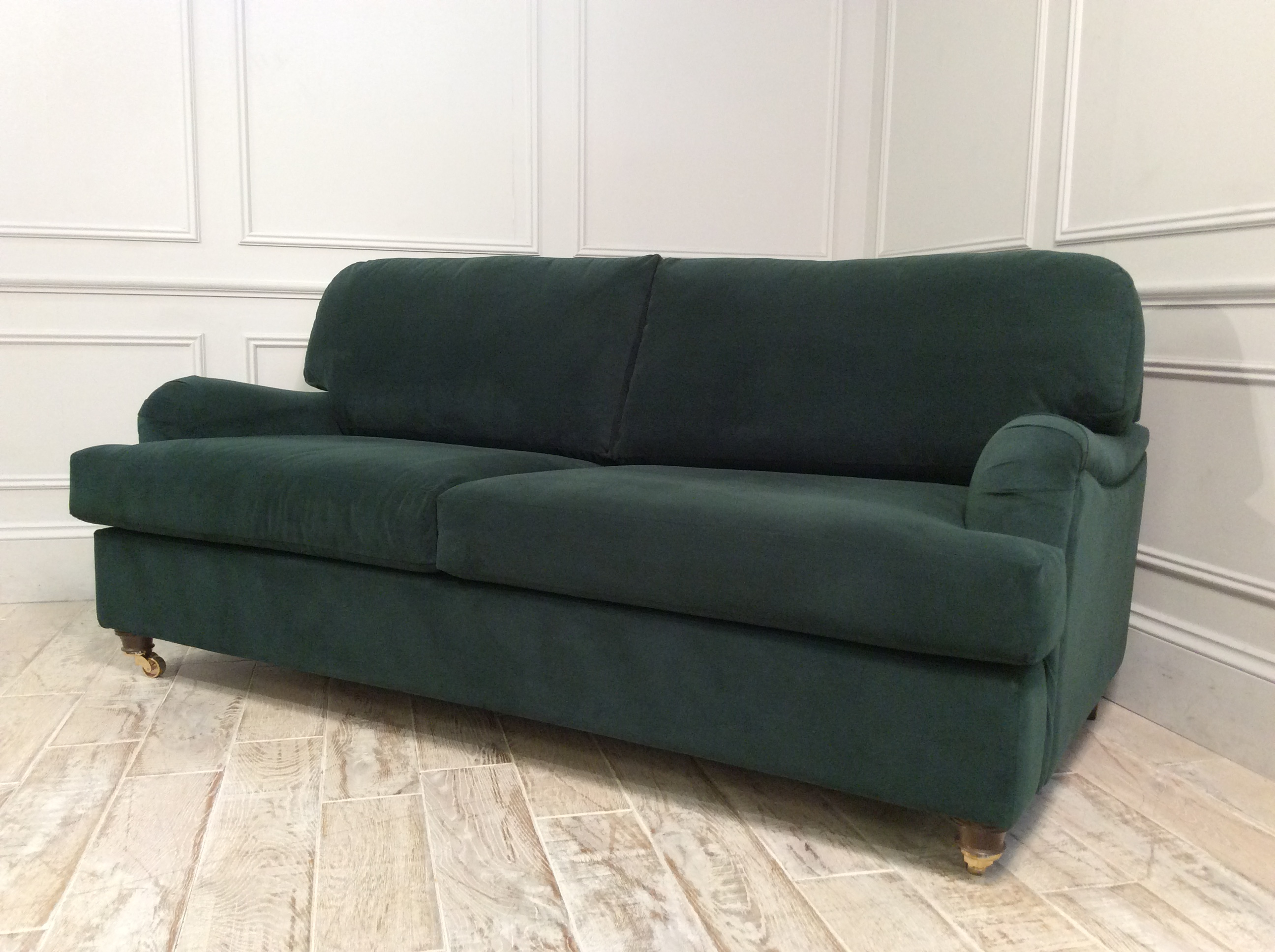 Product photograph showing Helston 3 5 Seater Fabric Sofa Bed In Hunter