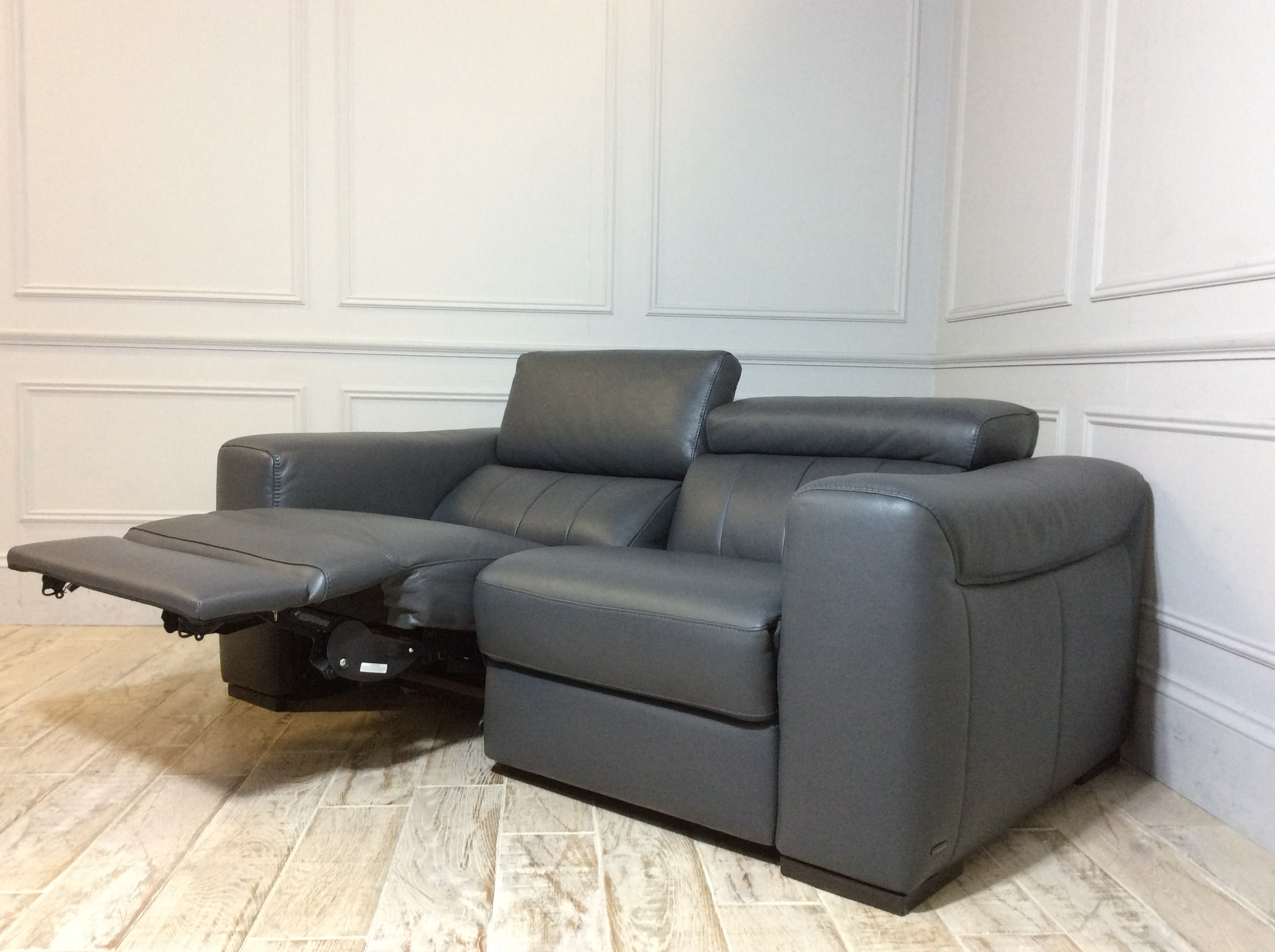 Product photograph showing Florentina 2 Seater Leather Sofa With Electric Recliner In 20ji