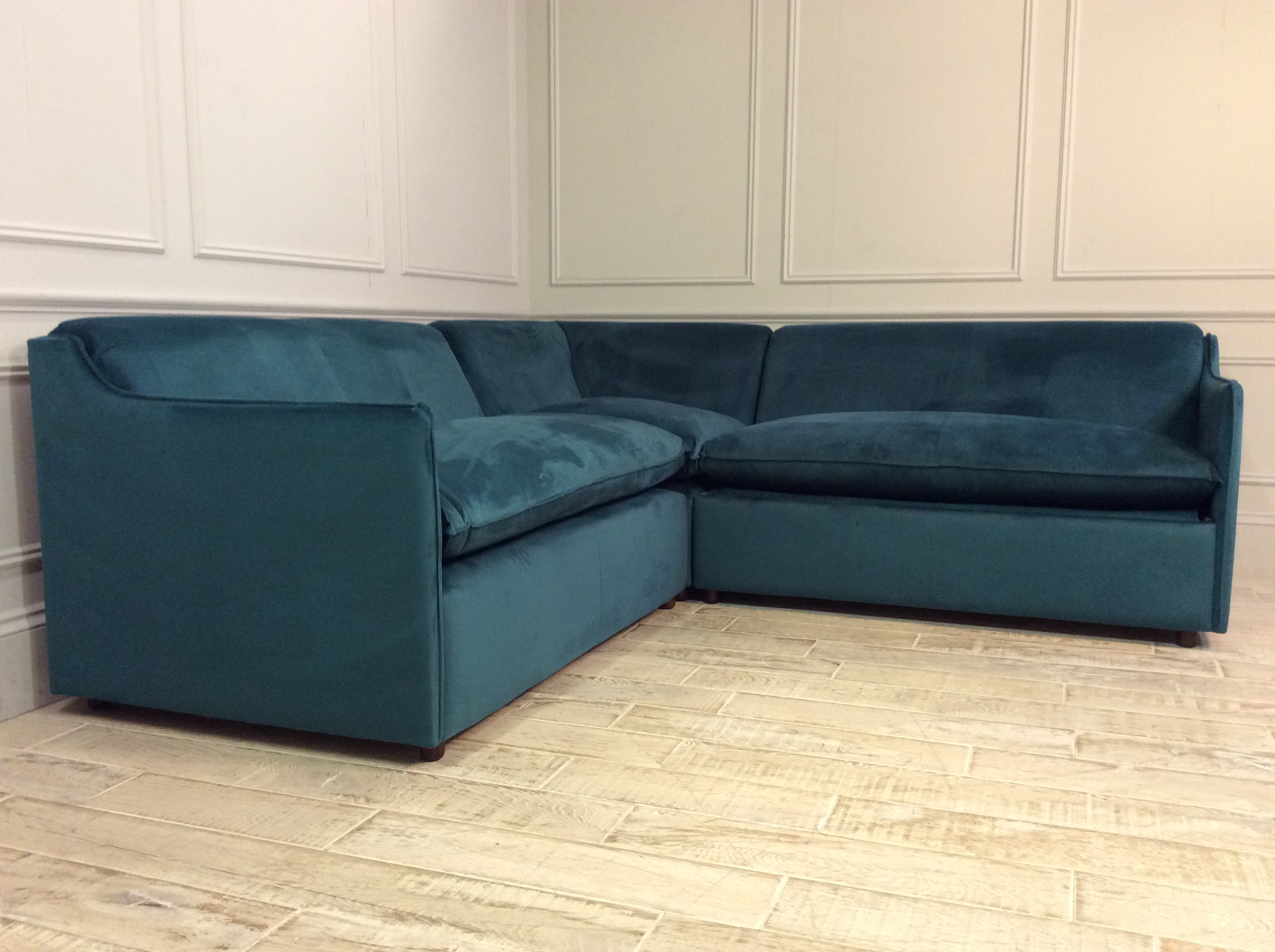 Product photograph showing Norbury 2 X 2 Seater Corner Sofa Bed In Moleskin Velvet Teal