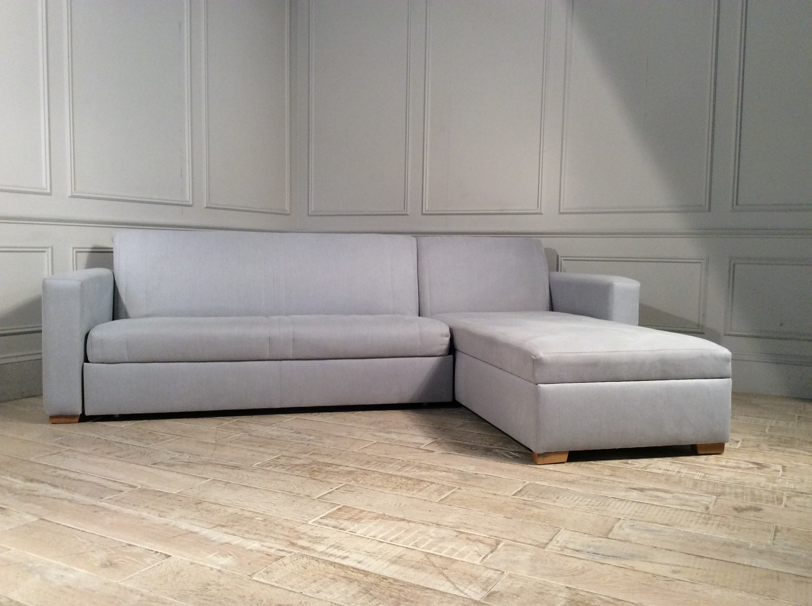 Product photograph showing Launceston 3 5 Seater Storage Chaise Sofa Bed In Mist