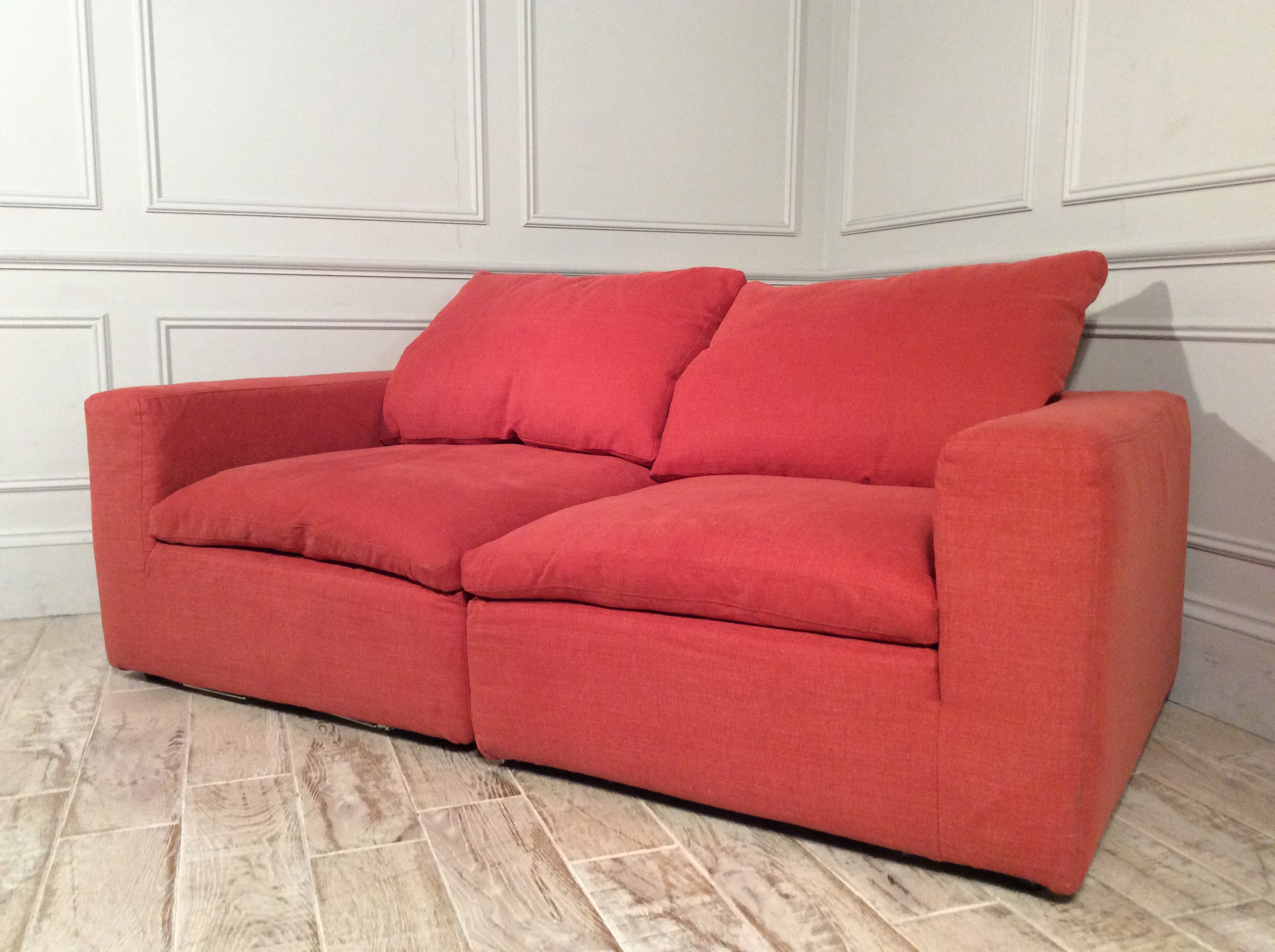 Feather Standard Fabric 3 Seater Sofa in Ginger Snap