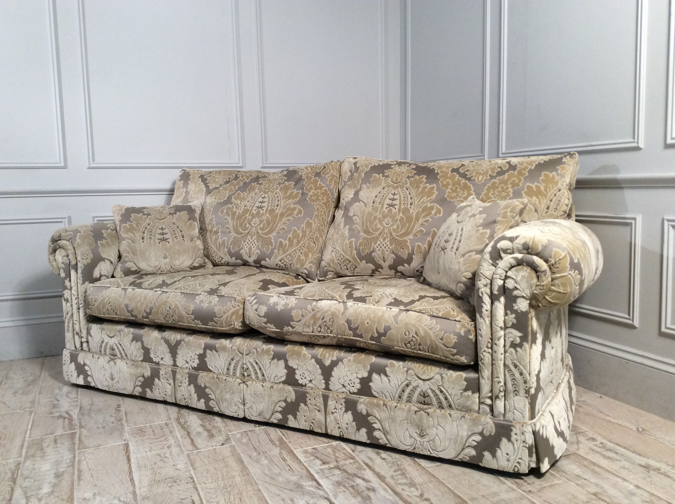Product photograph showing Duresta Waldorf 3 Seater Fabric Sofa In Damask Gold