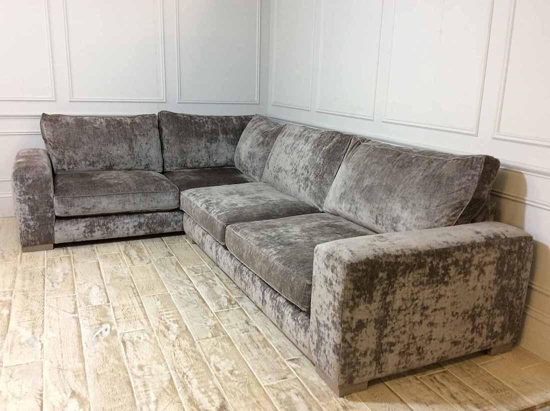 Ashdown Corner Fabric Sofa in Traviata Velvet Grigio