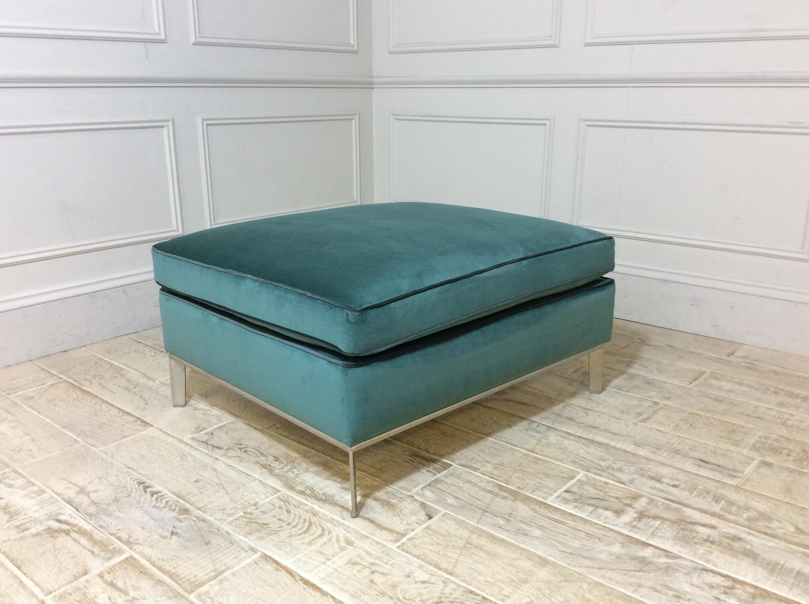 Duresta Domus Brooklyn Footstool in Duresta Fabric Viridian D5