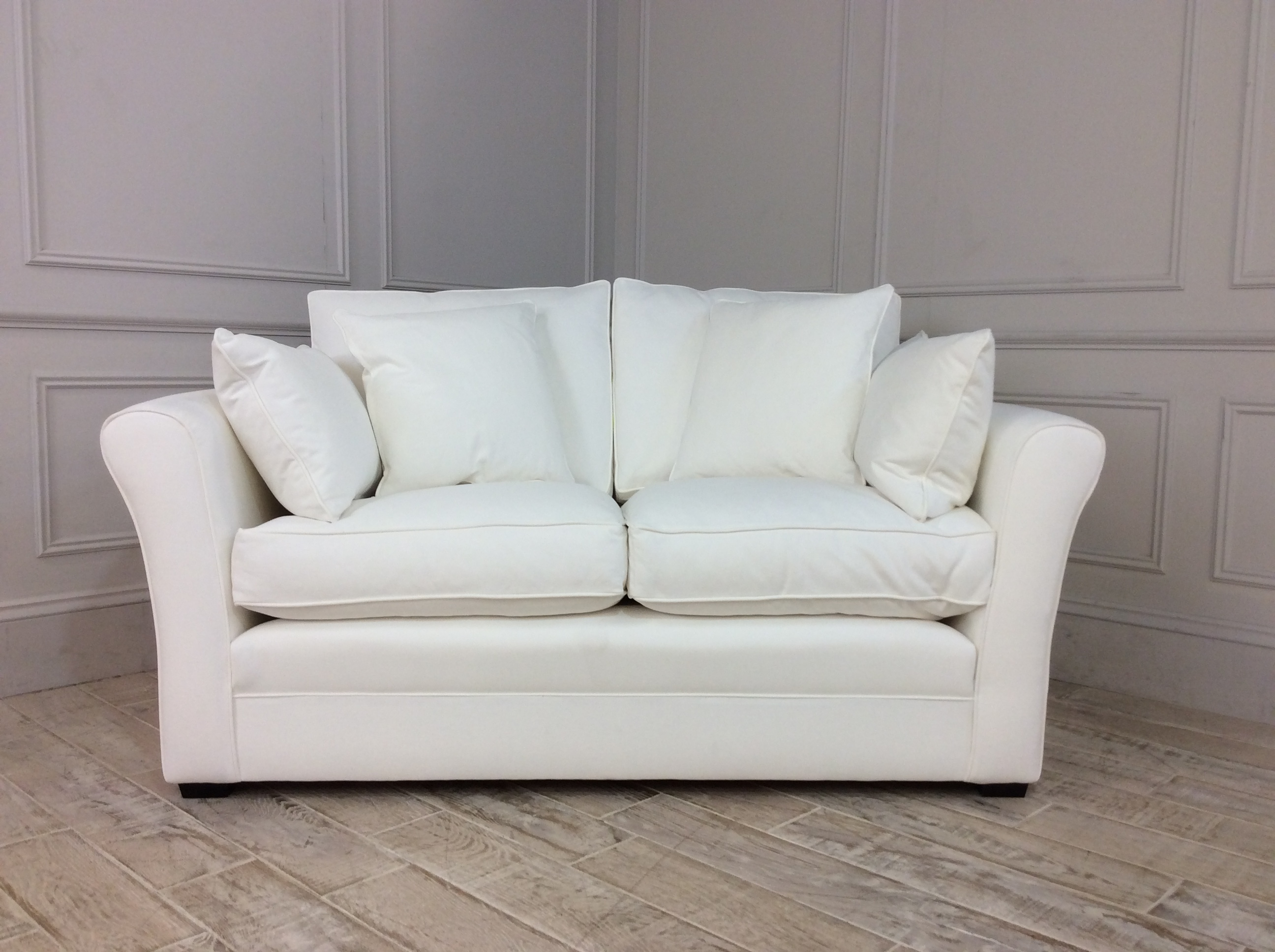Product photograph showing Jude Small Sofa In Linara Brushed Cotton - Coconut