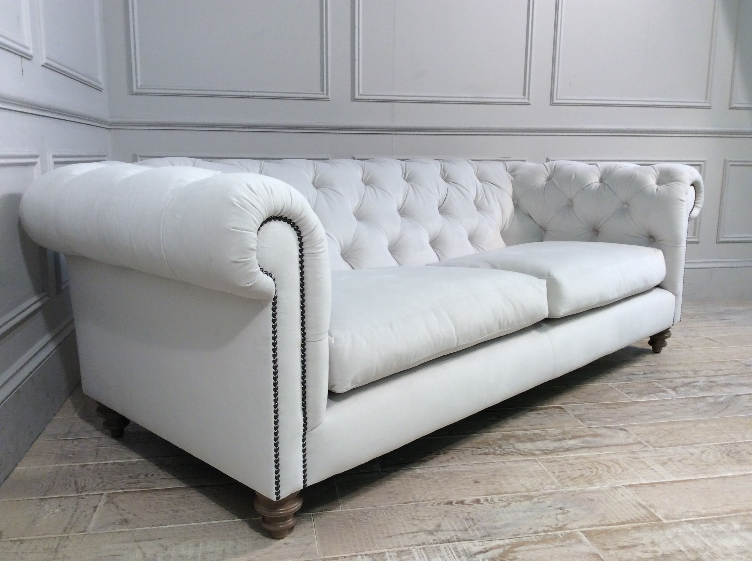 Product photograph showing Stirling Midi Fabric Sofa In Amalfi Velvet Natural