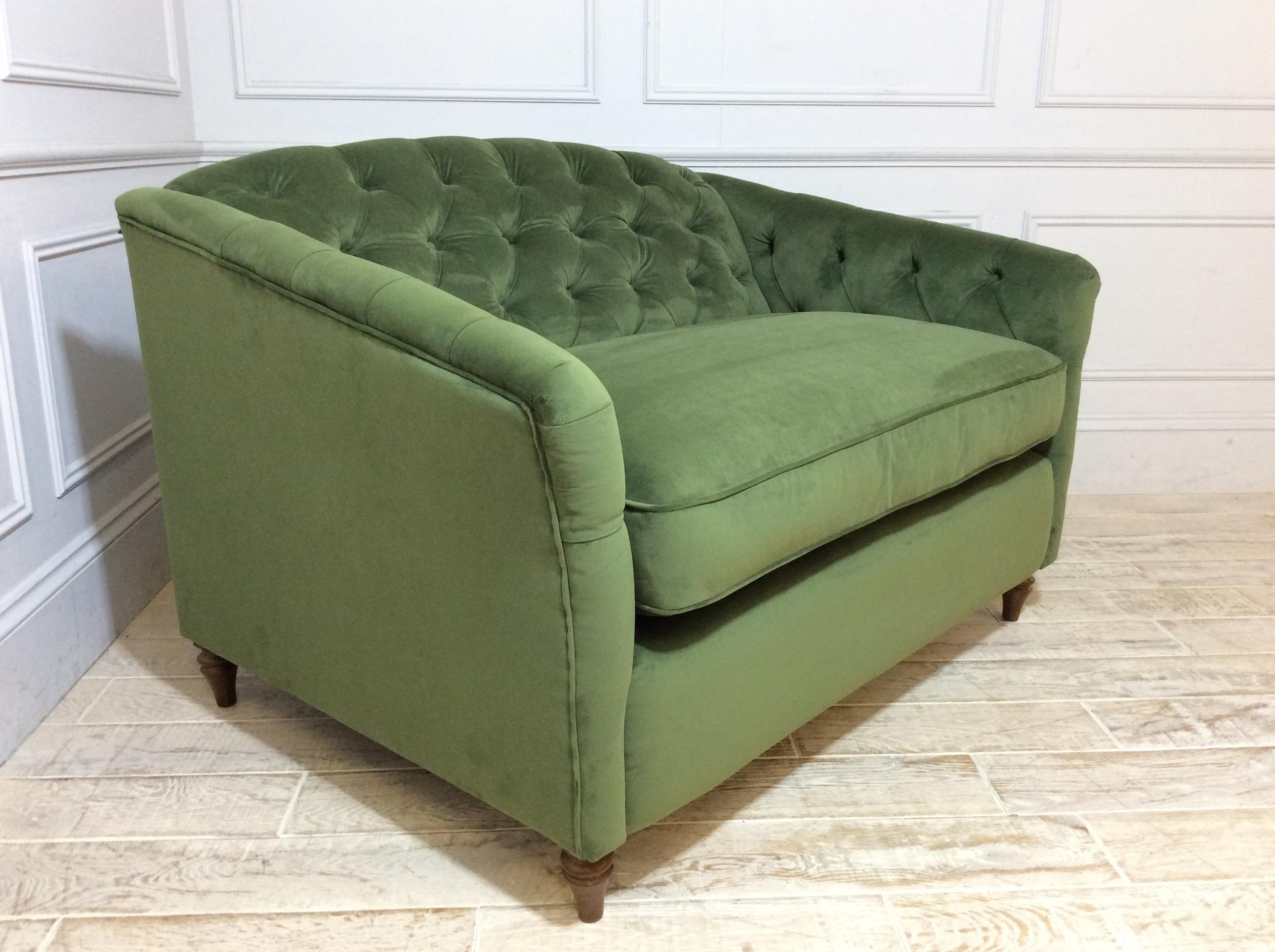 Payton Loveseat Sofa in Easy Clean Plush Velvet Juniper