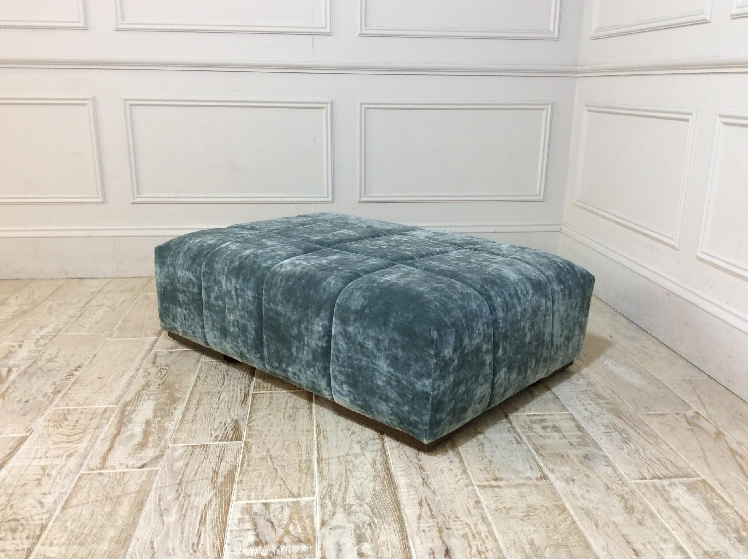 Epping Large Footstool in Vintage Velvet Ocean