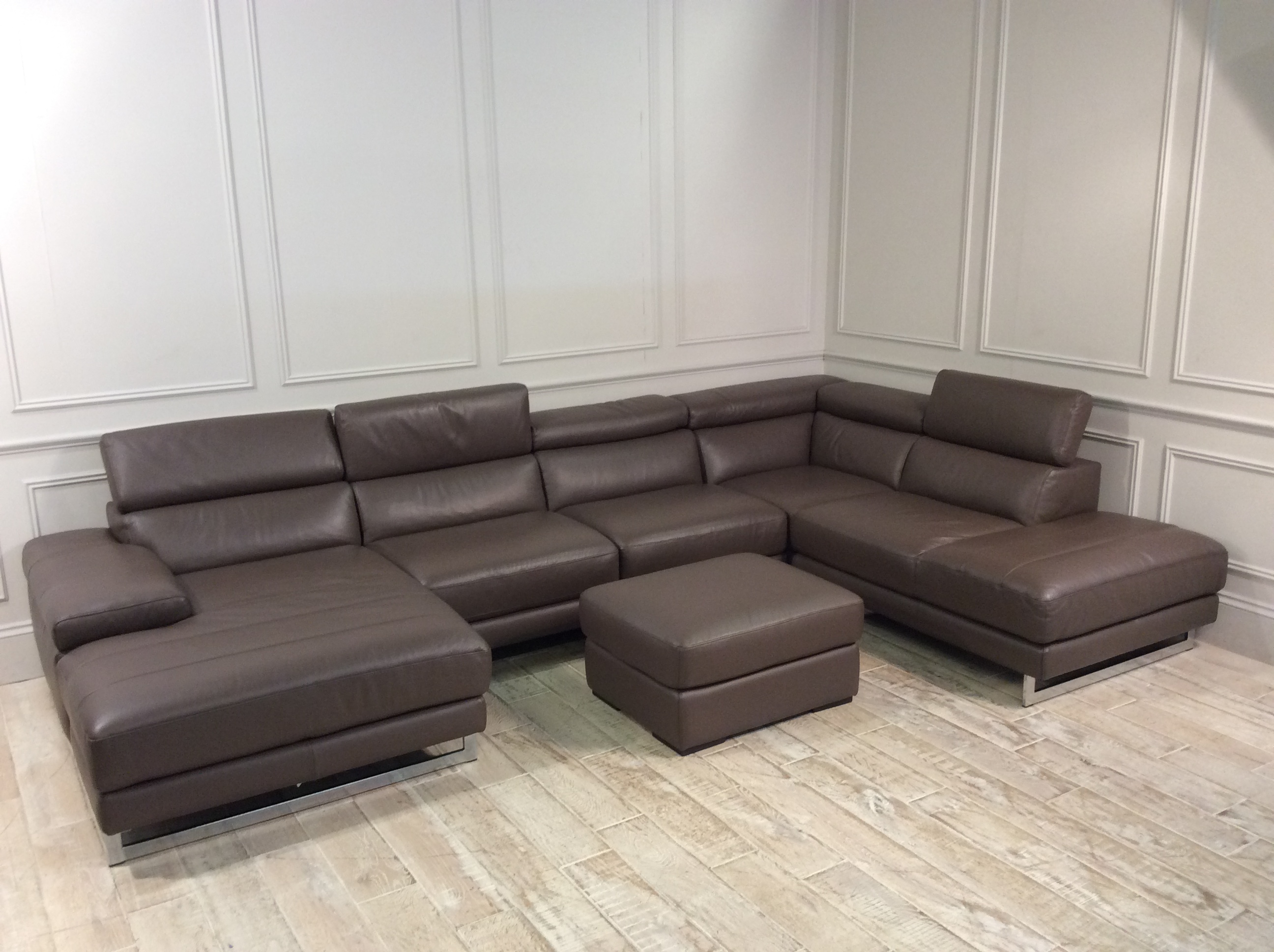 Product photograph showing Milano U-shaped Leather Sofa In 10bt With Ottoman
