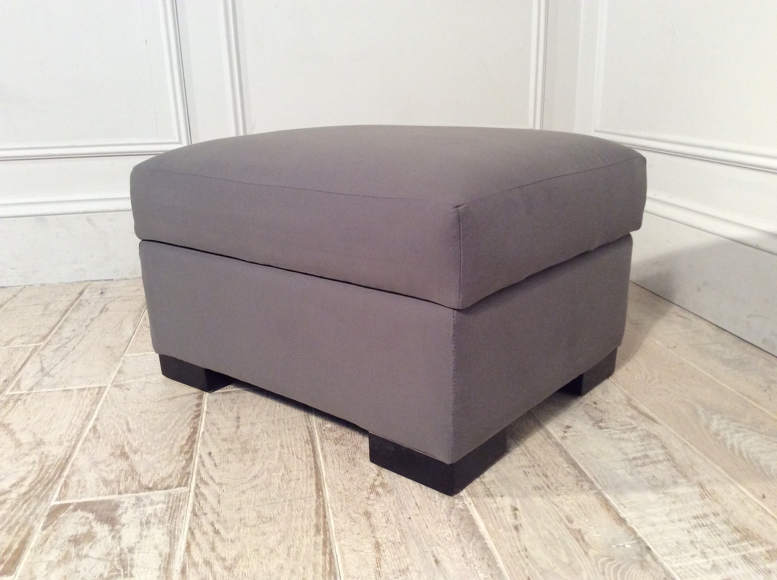Product photograph showing Waterford Large Fabric Stool In Mercury