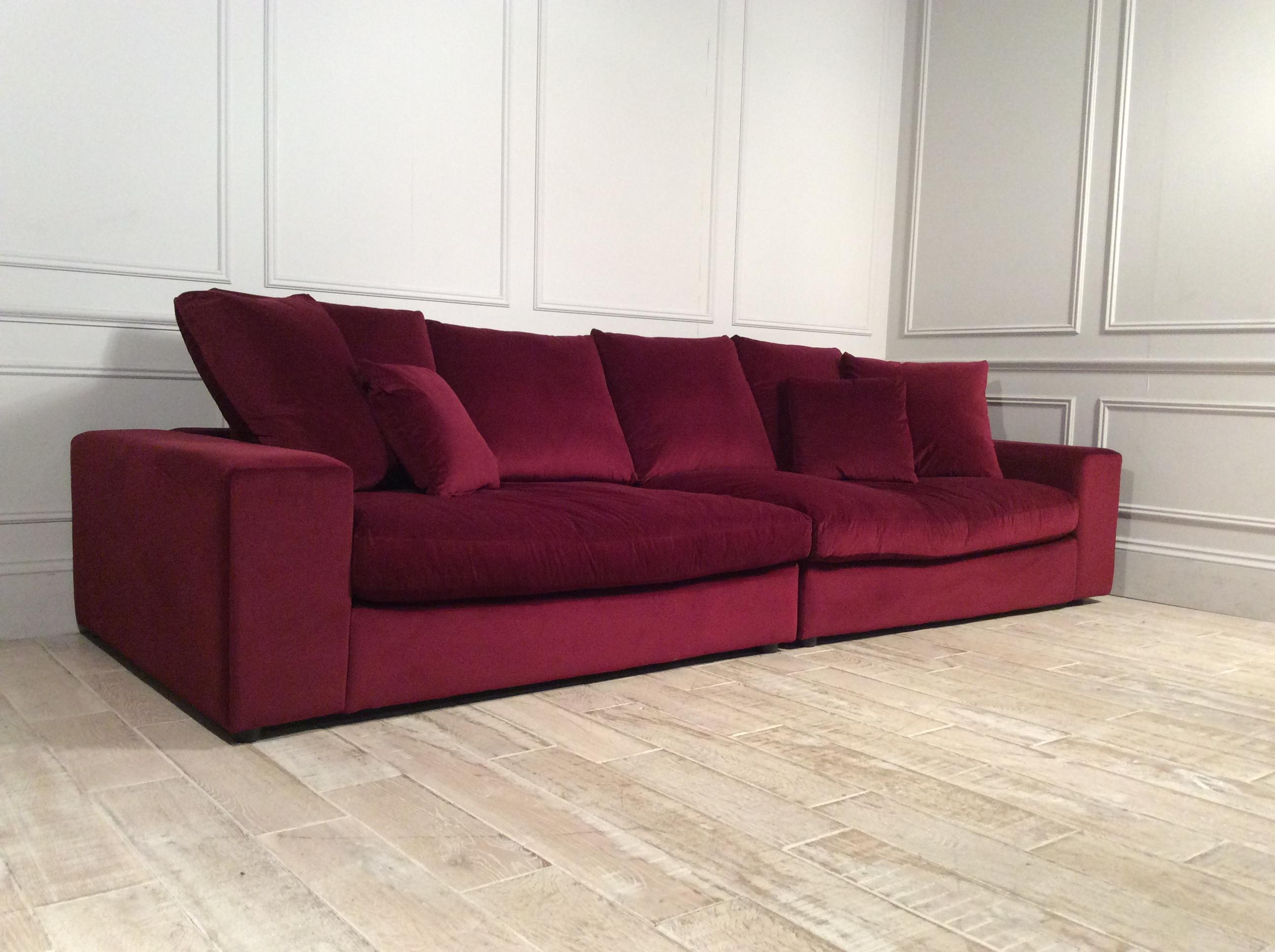 Haymarket Extra Deep 5 Seater Fabric Sofa in Merlot