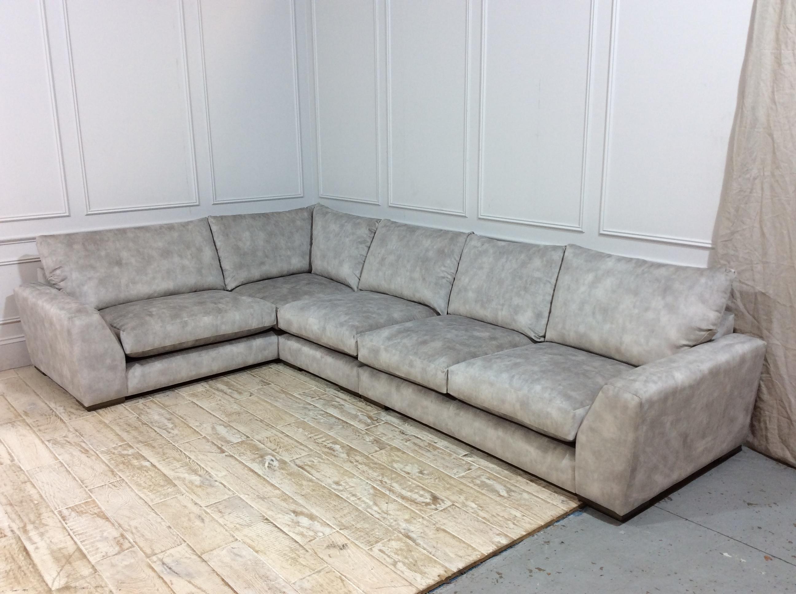 Kingston Large Corner Sofa in Lovely Marble Velvet