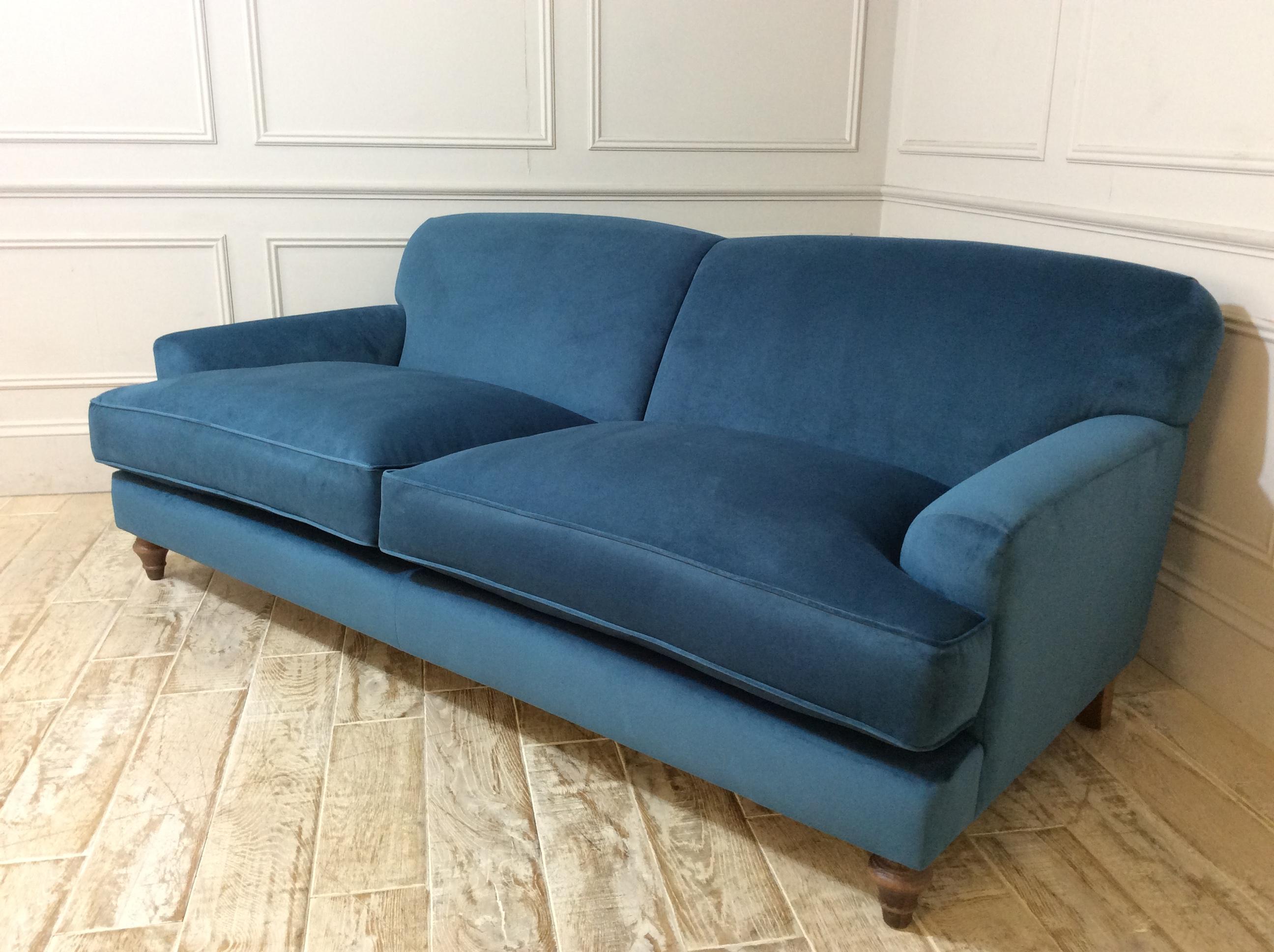 Galloway Large Sofa in Stain Resistant Moleskin Velvet Cobalt
