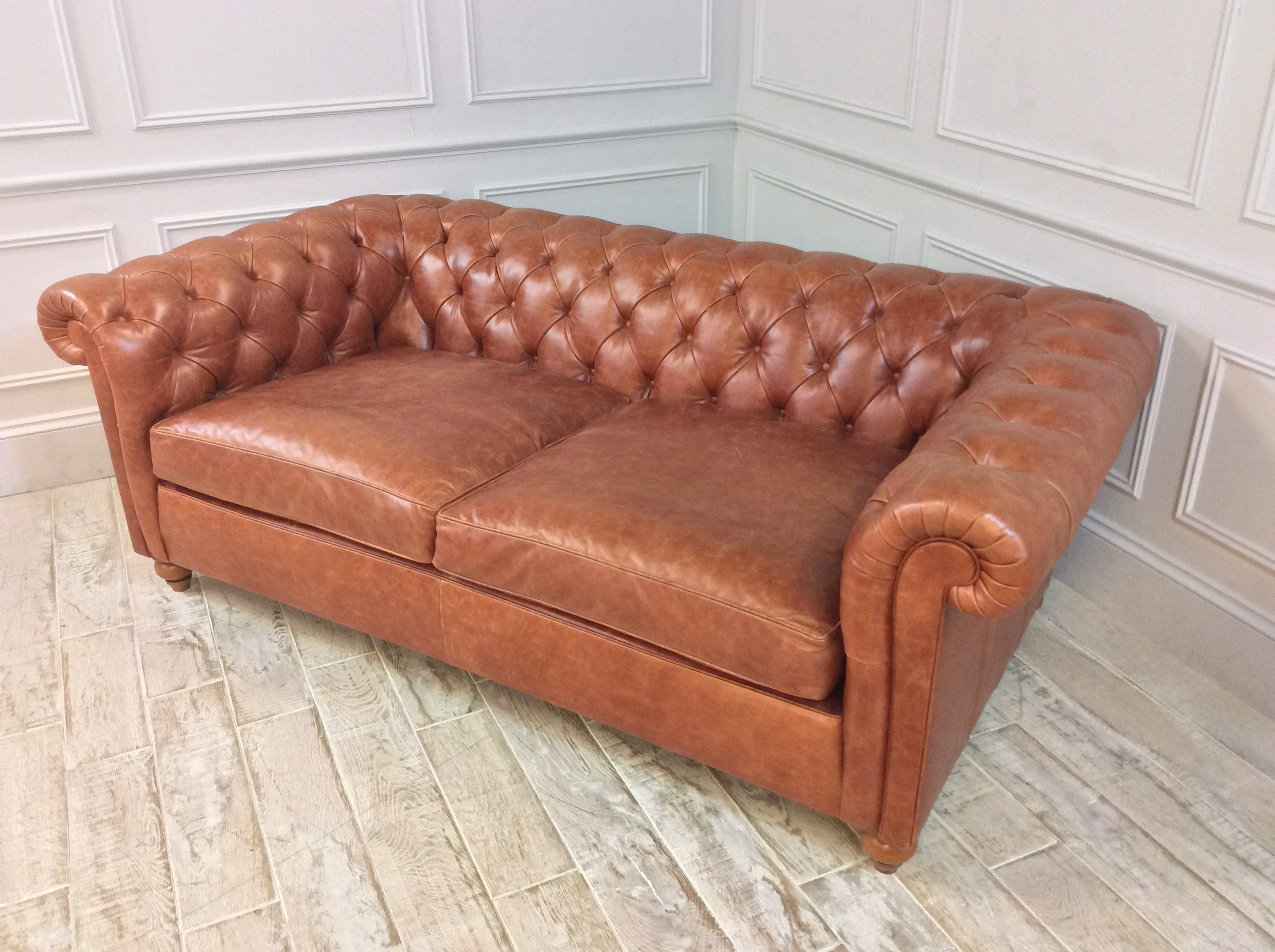 Product photograph showing Duresta Connaught Leather Medium Sofa In Clyde Cognac