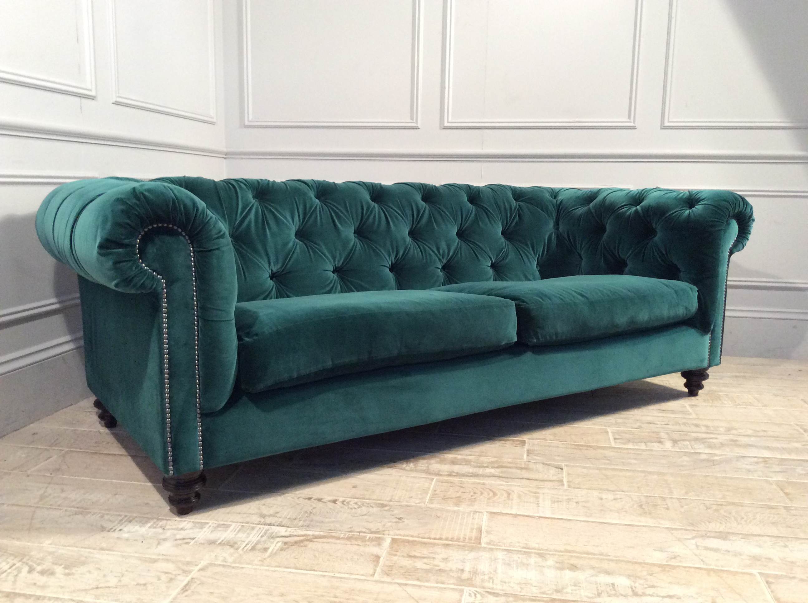 Product photograph showing Stirling Midi Fabric Sofa In Velvet Teal Green