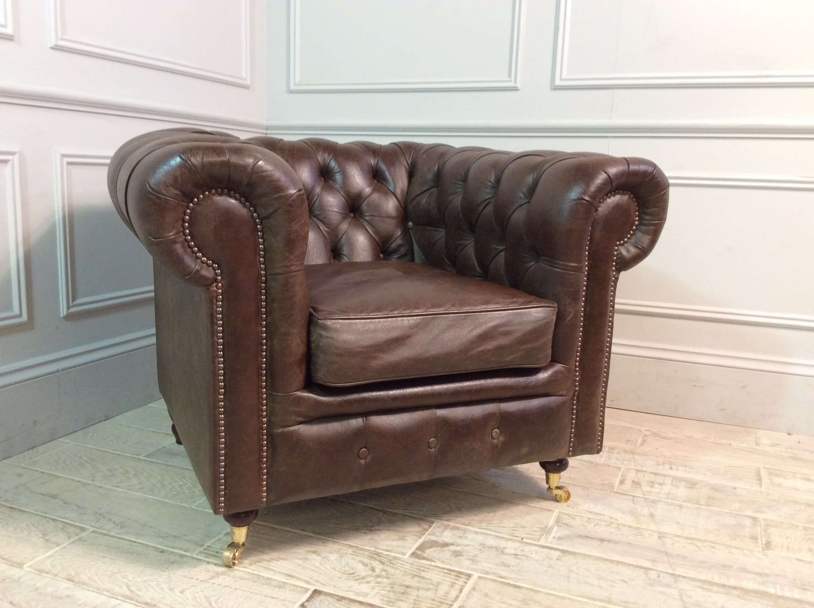 Product photograph showing Harrington Leather Chair In Distressed Vintage Truffle