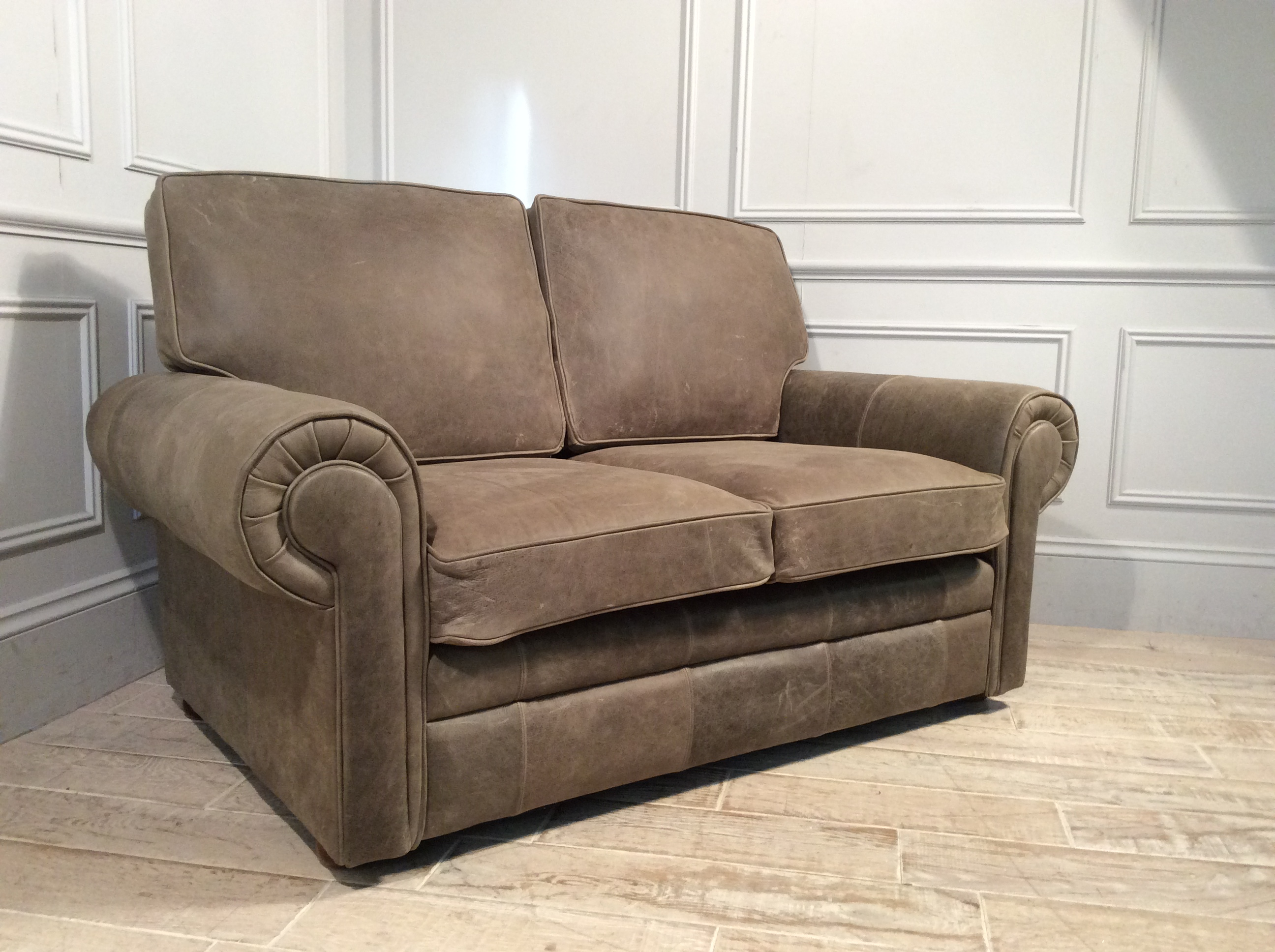 Product photograph showing Canterbury 2 Seater Leather Sofa In Rustic Hennessey Leather - Congo