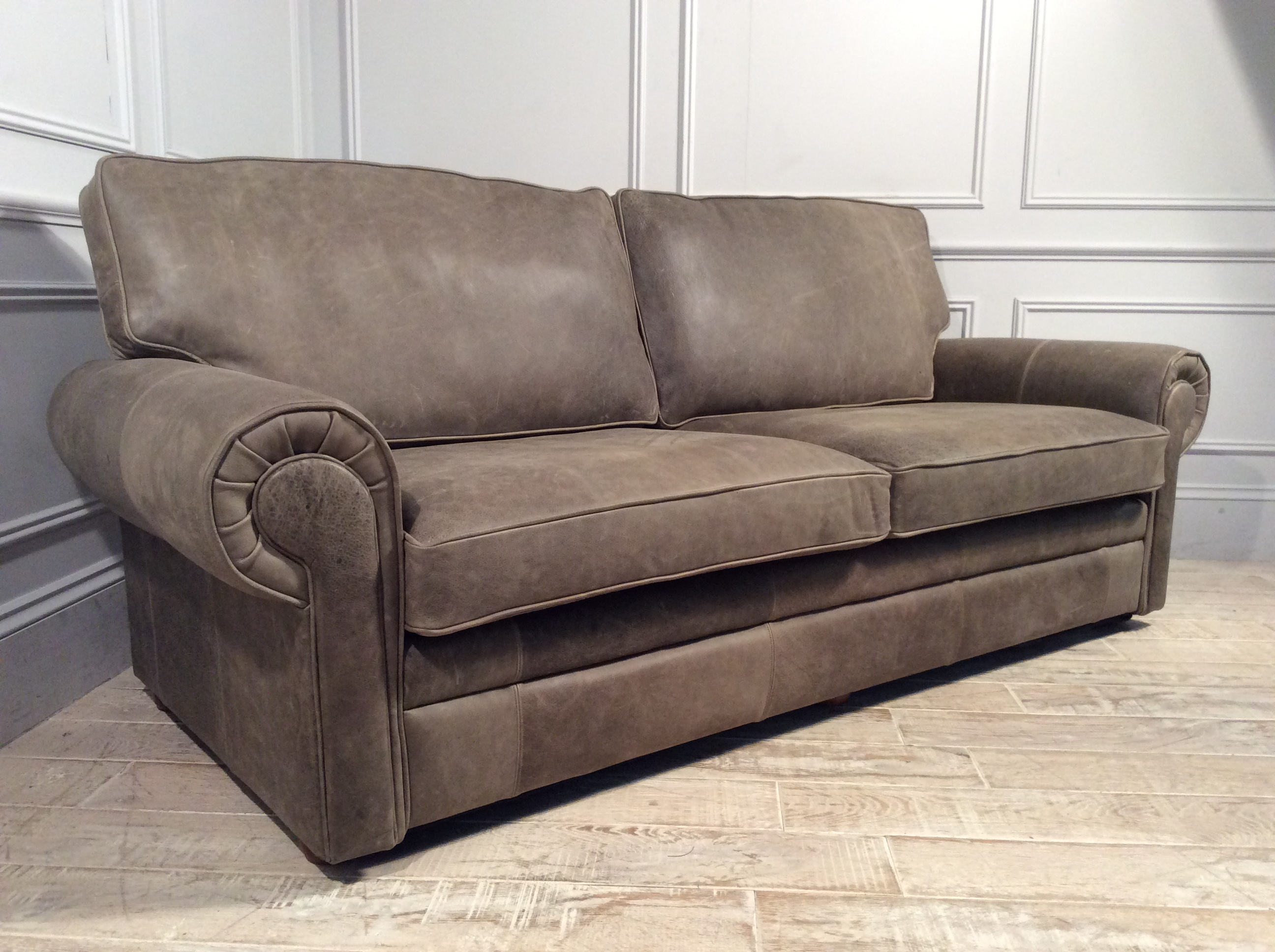 Product photograph showing Canterbury 3 Seater Leather Sofa In Rustic Hennessey Leather - Congo