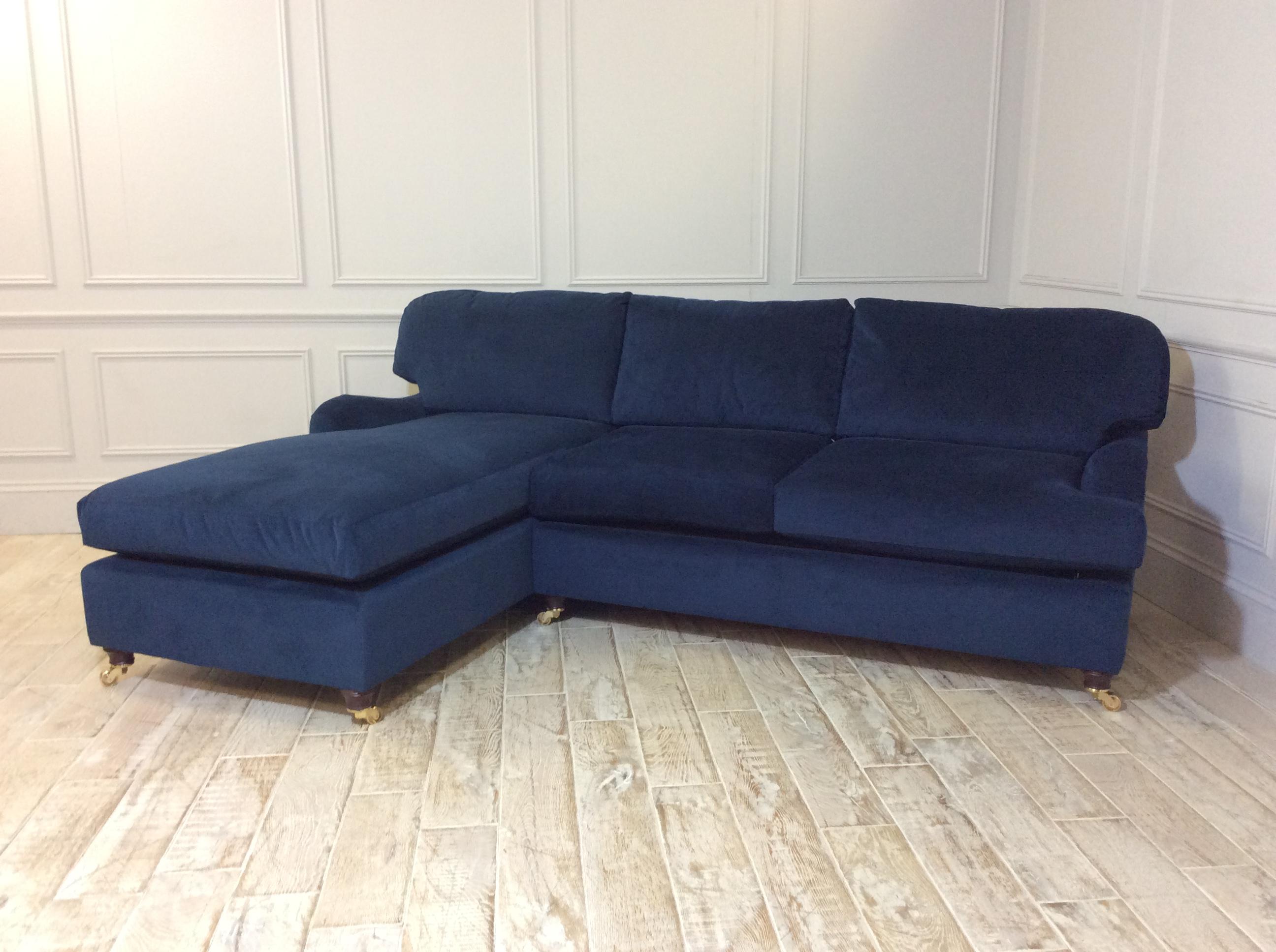 Helston 3 Seater Chaise Sofa Bed in Easy Clean Plush Velvet Royal Blue
