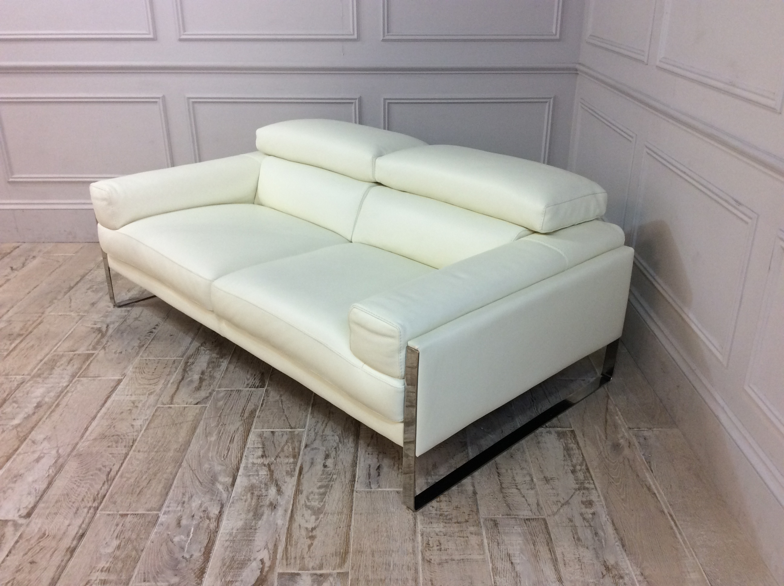 Product photograph showing Rocco 2 Seater Sofa In Bull 370 White